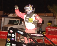 Dave Darland Celebrates his second Oval Nationals Win. Photo Ed Hollowell